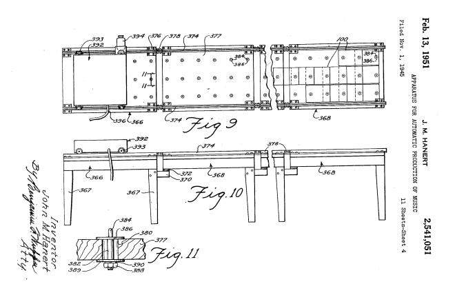 Diagram illustrating the notation card template with pitch on the X axis and duration/position on the Y axis. The scanning head travelled along the Y axis. (US Patent 2,541,051A 1945)