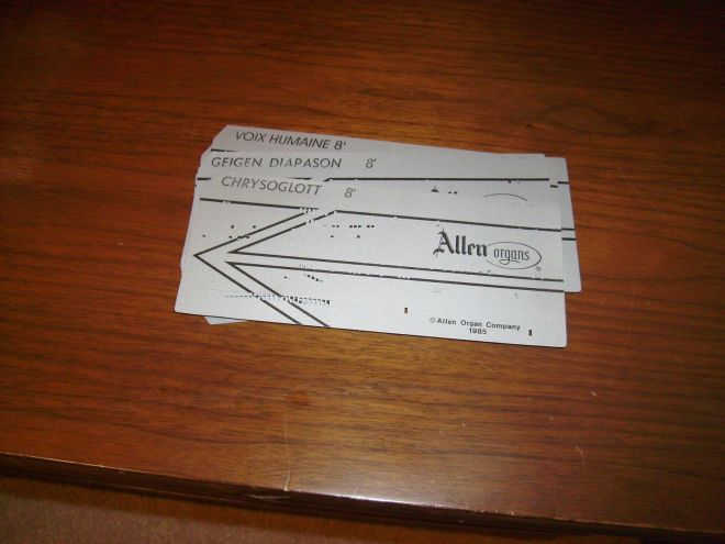 Allen Organ voice data punch cards