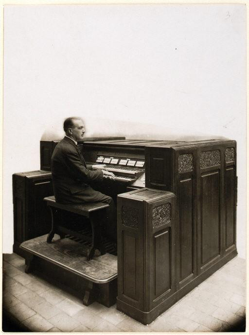 Organist Charles Tournemire at the Orgue Des Ondes in the église de Villemomble 1931