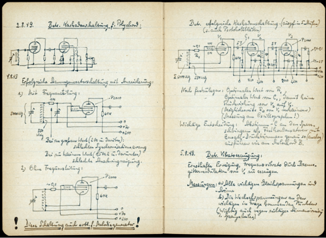 Bode's notes for a prototype of the Polychord c 1949