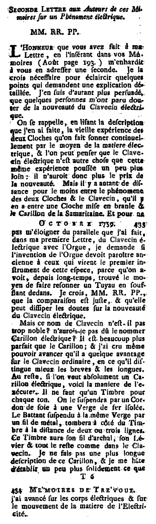 "Description of the Clavecin by Marc Michel Rey, 1759 in his ""Le journal des sçavans, combiné avec les mémoires de Trévoux"""