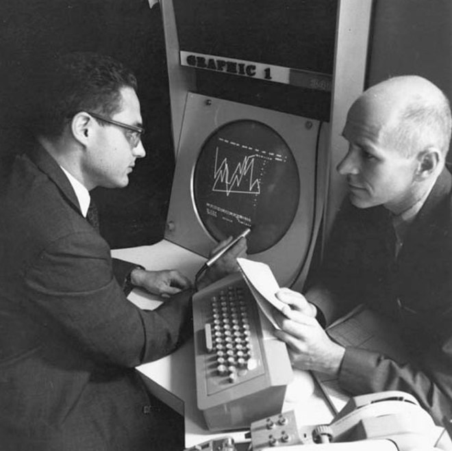 Lawrence Rosller of Bell labs with Max Mathews in front of the Graphics 1 system c 1967