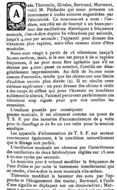 The indium described in 'Le Menestrel' in 1933