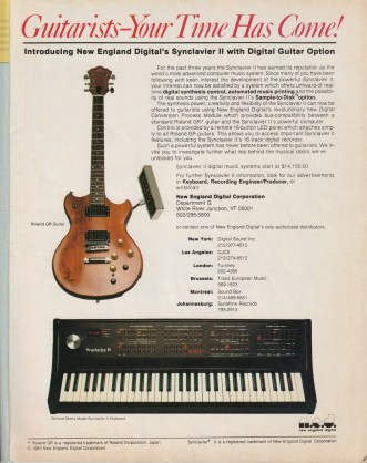 Synclavier advert from 1984 showing guitar controller