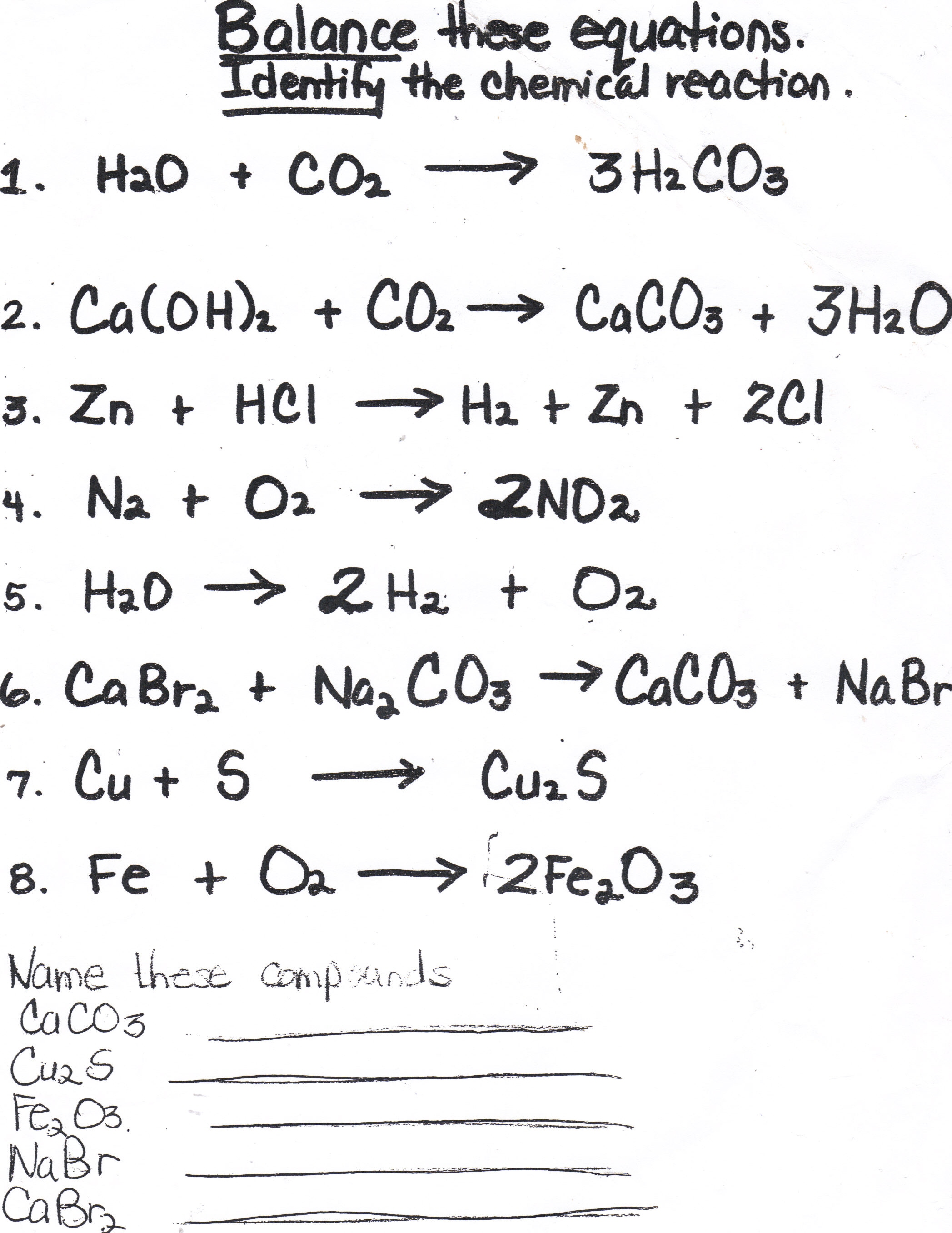 8th Grade Science Balancing Chemical Equations Worksheet