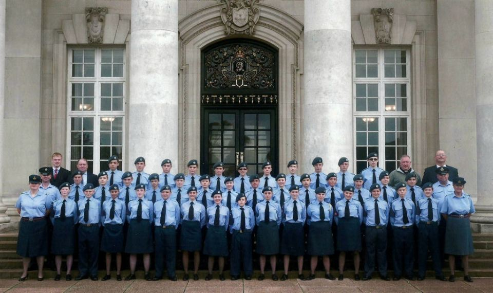 picture of cadets in from of College Hall