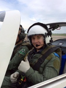 Cadet Callum Willox in the cockpit of a Grob Tutor aircraft at RAF Wyton