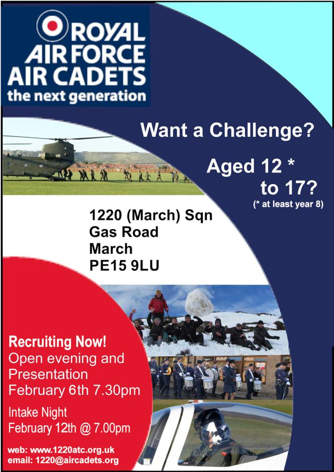 1220 recruitment poster. Open eveing 6th Feb