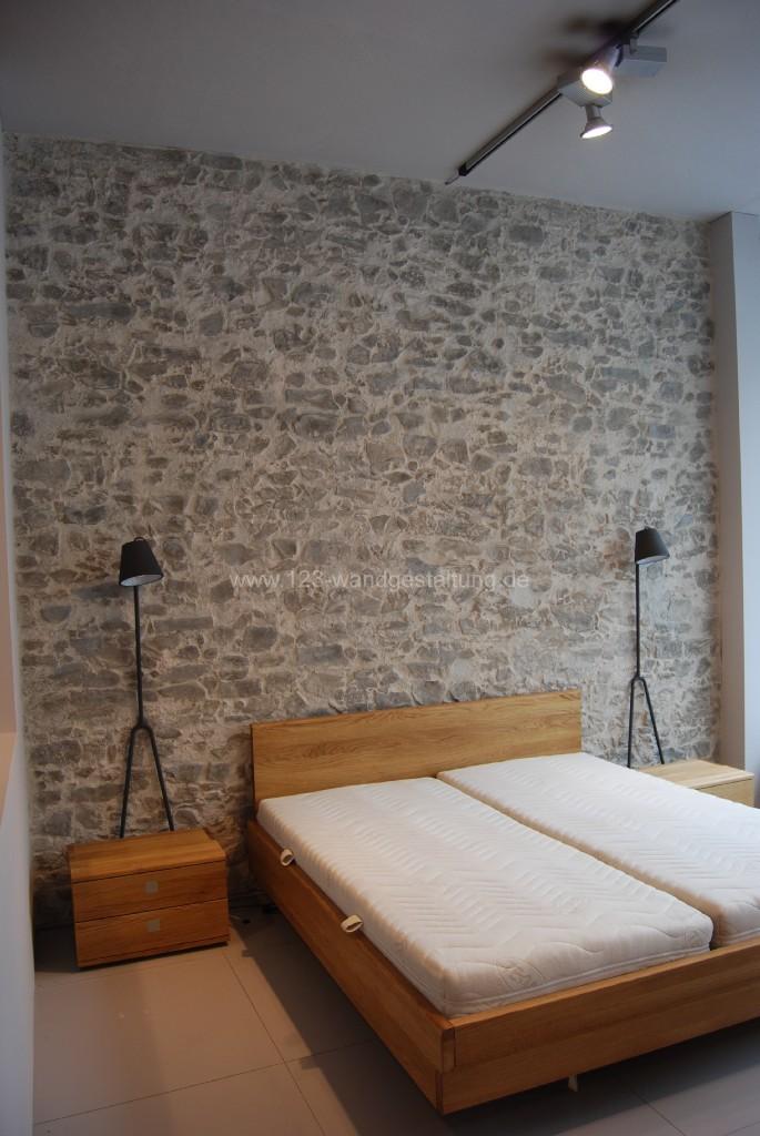 Wandgestaltung Wohnzimmer Steinoptik