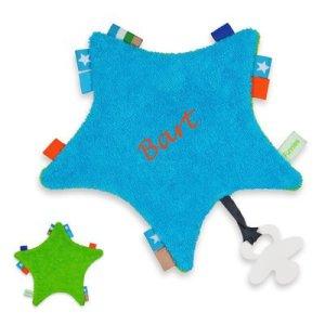 Labeldoekje - speendoekje blauw/groen met naam