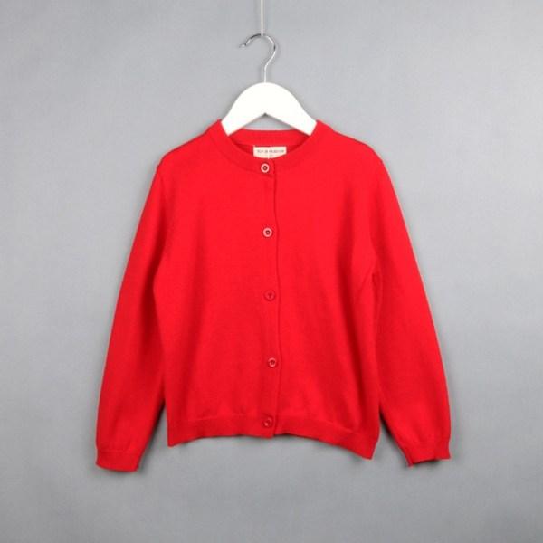 Lente en herfst kinderkleding meisje katoenen gebreide vest trui, kindermaat: 120cm (rood)