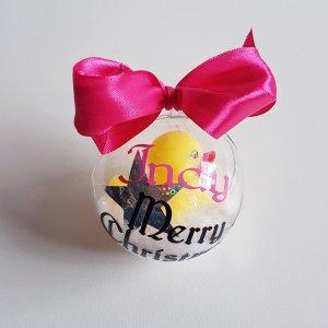 kerstbal met naam Eendje Roze