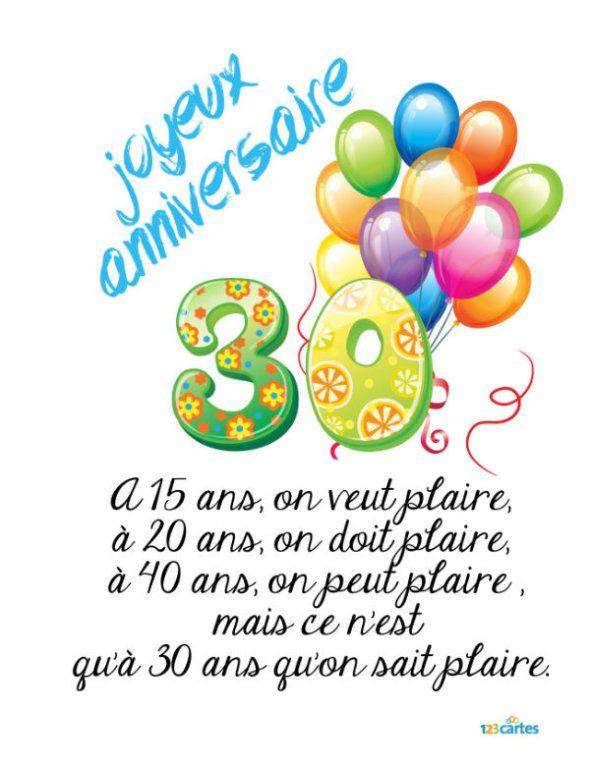 Citation Anniversaire 30 Ans : citation, anniversaire, Plaire, Carte, Imprimer, Anniversaire, (Gratuit), 123cartes