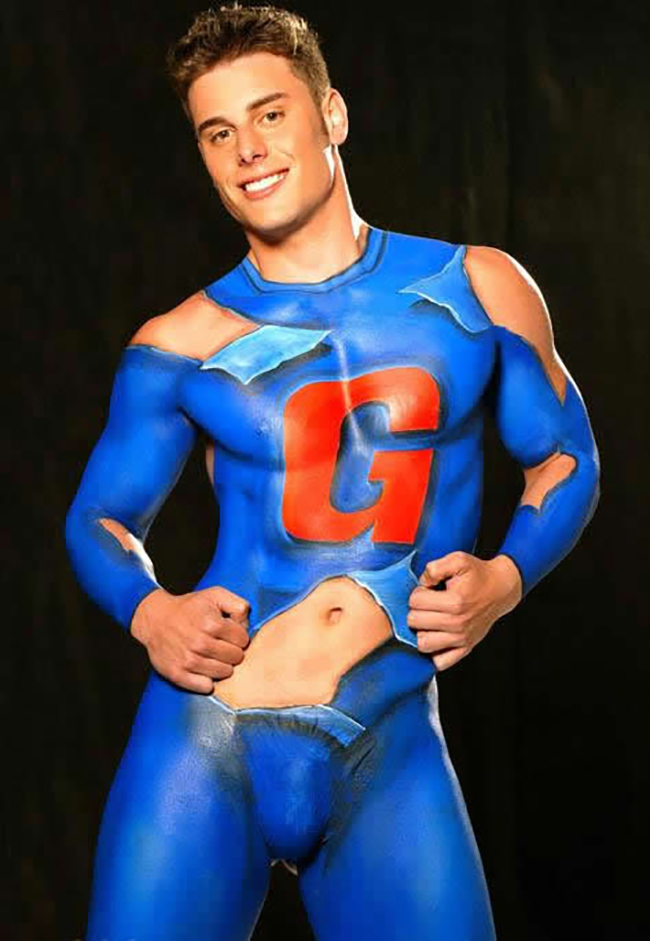 Gay male nude body painting