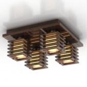 Wooden Chandelier Free 3dmax Model
