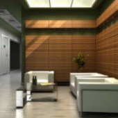 Wooden Reception Room Interior Scene Free 3dmax Model