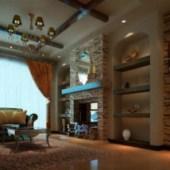 European Castle Living Room Free 3dmax Scene