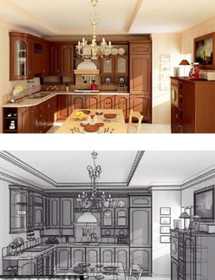 Wooden Kitchen Interior Interior Scene 3d Model 3ds Max