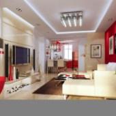 Modern Stylish Living Room 3d Max