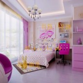 Pink Girl Bedroom Free 3dmax Model