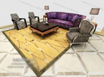 European Style Sofa Set Free 3d Max Model 3ds Max