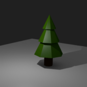 Low-poly Cartoon Pine (christmas) Tree
