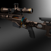Carbon Fiber Sniper Rifle High Poly