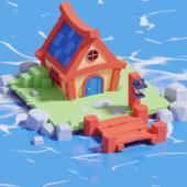 Toy Cartoon House Beach