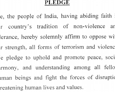 Anti terrorism day May 21 2014 Pledge in English