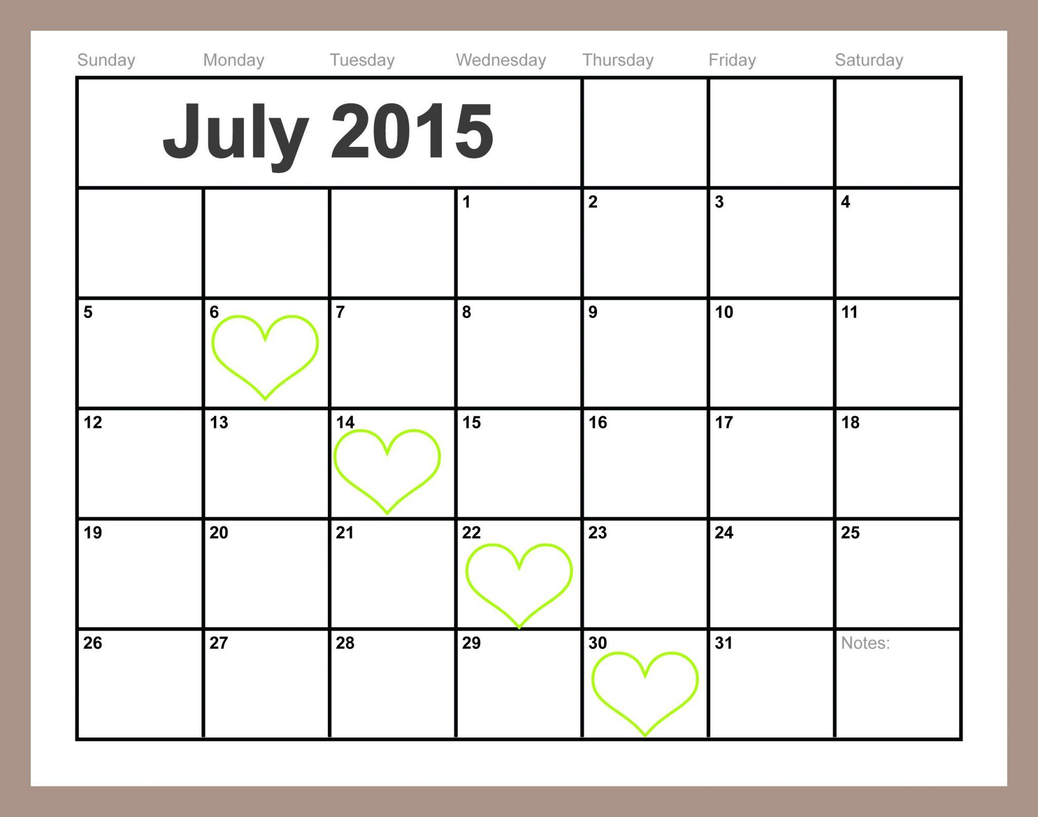 free printable july calendar free printable july calendar 2015