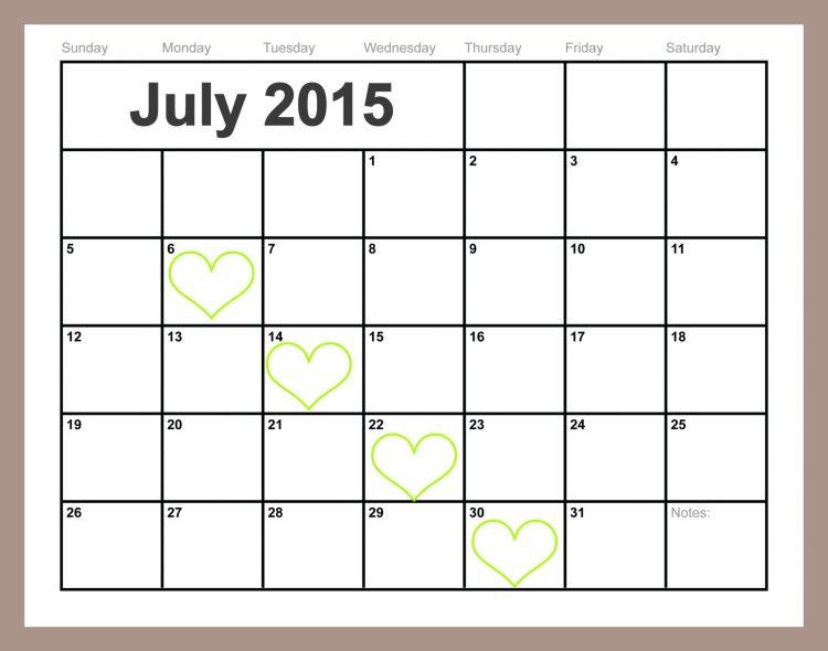 Free Printable July-2015 calendar