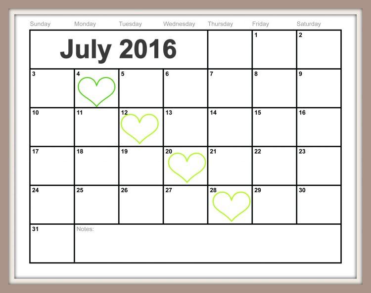 Free Printable July-2016-Calendar