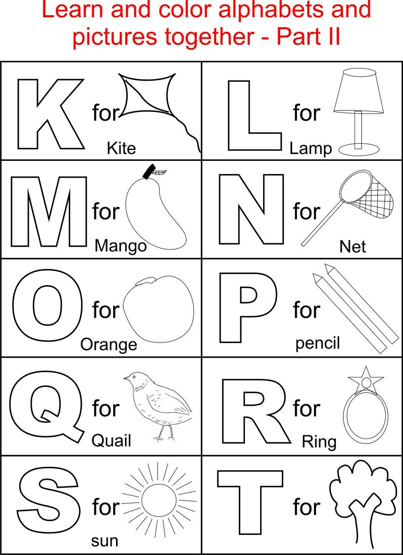Printable Alphabet Coloring Pages for children