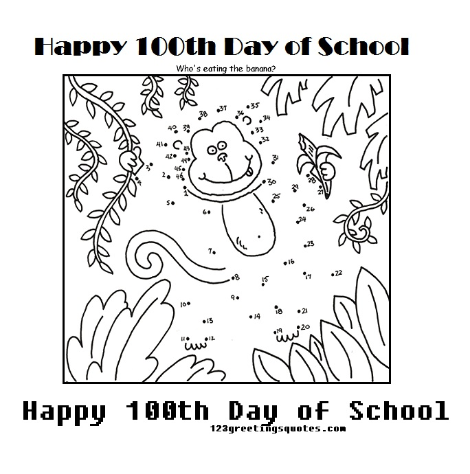 It is a graphic of Critical Coloring Sheets For 100th Day Of School