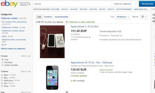 page de vente EBay sur des iPhones d'occasion