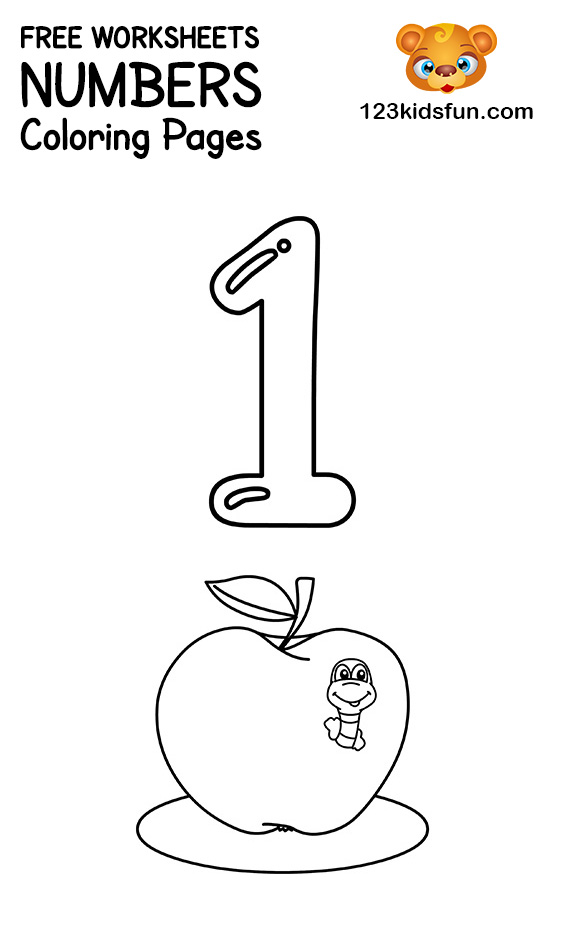 Number 1 Coloring Page : number, coloring, Printable, Number, Coloring, Pages, Kids.