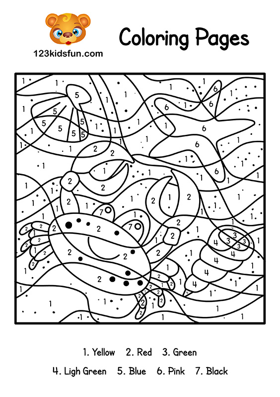 Color By Number Summer Coloring Pages for Kids Printable