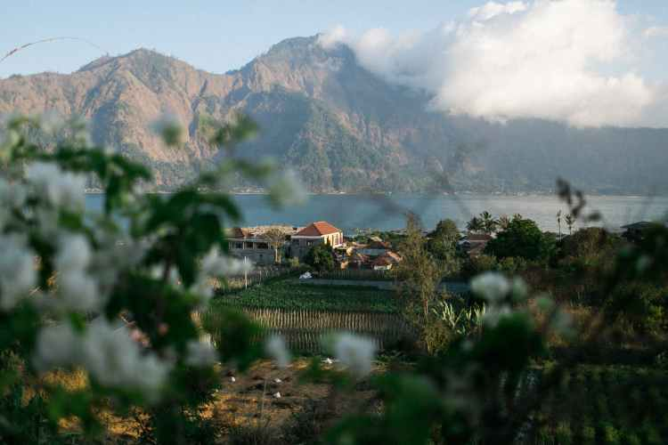 village among garden and lake by rock