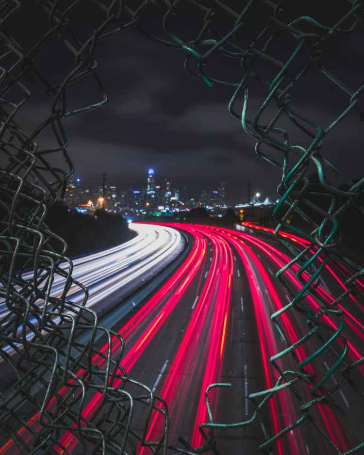 light streak photography of city street