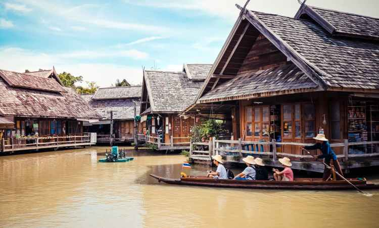 tourists riding a boat