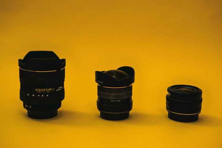 three black camera lens