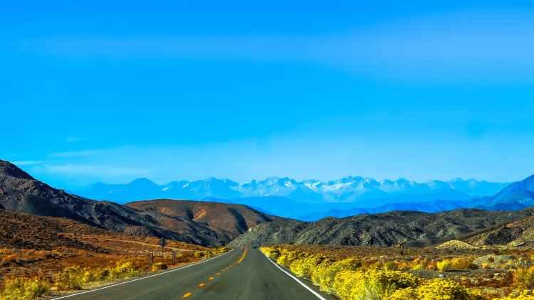 road heading towards mountain