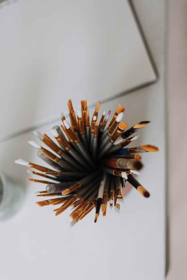set of paintbrushes on table