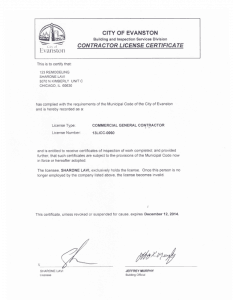 City of Evanston - Contractor License