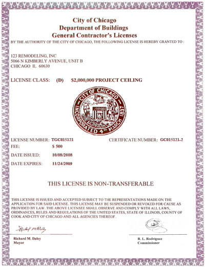 General Contractors License 2009 Big Sc 1 St 123 Remodeling