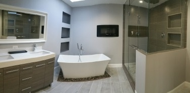 completed Skokie master bathroom remodeling
