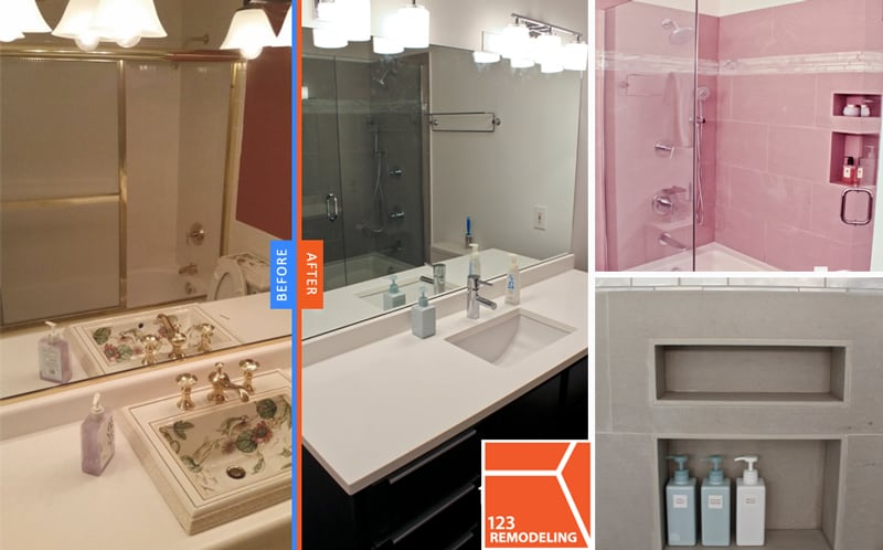 123 Remodeling build to suit, custom designed bathtub back-splashed wall with built-in storage for bath/shower essentials.