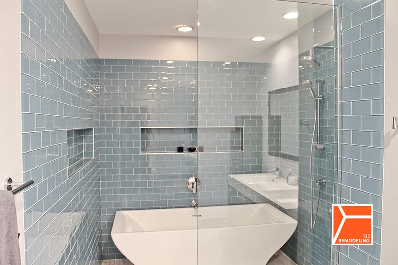 bathroom remodeling replaced a bathtub with walk in shower complete gut bathroom remodeling project click here to see the complete detail