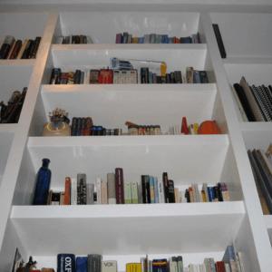 minimalist white bookshelf