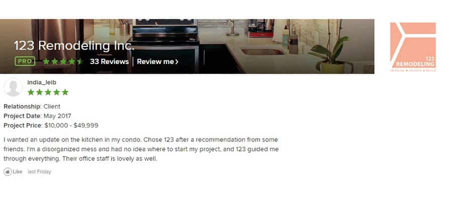 123 Remodeling Houzz review for River North condo kitchen renovation in Chicago